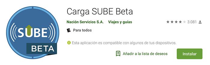 aplicacion carga sube beta